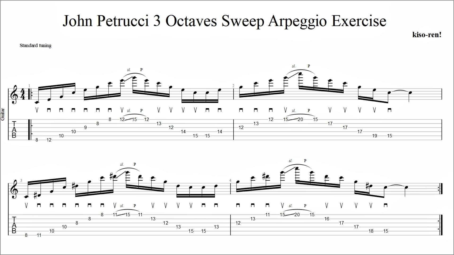 【TAB】John Petrucci Sweep Picking Arpeggio 3 Octaves Guitar Exercise ジョン・ペトルーシ 3オクターブ スウィープ【Practice TAB】