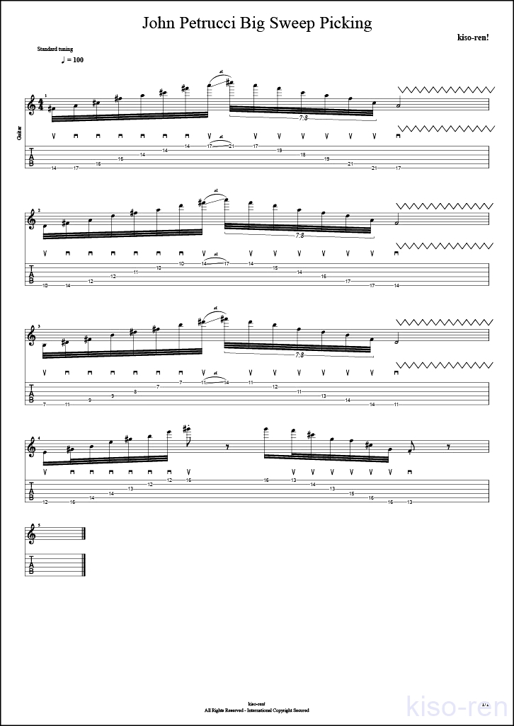【TAB】Big Sweep Picking John Petrucci  6弦スウィープピッキング ジョン・ペトルーシ 練習【Practice TAB】