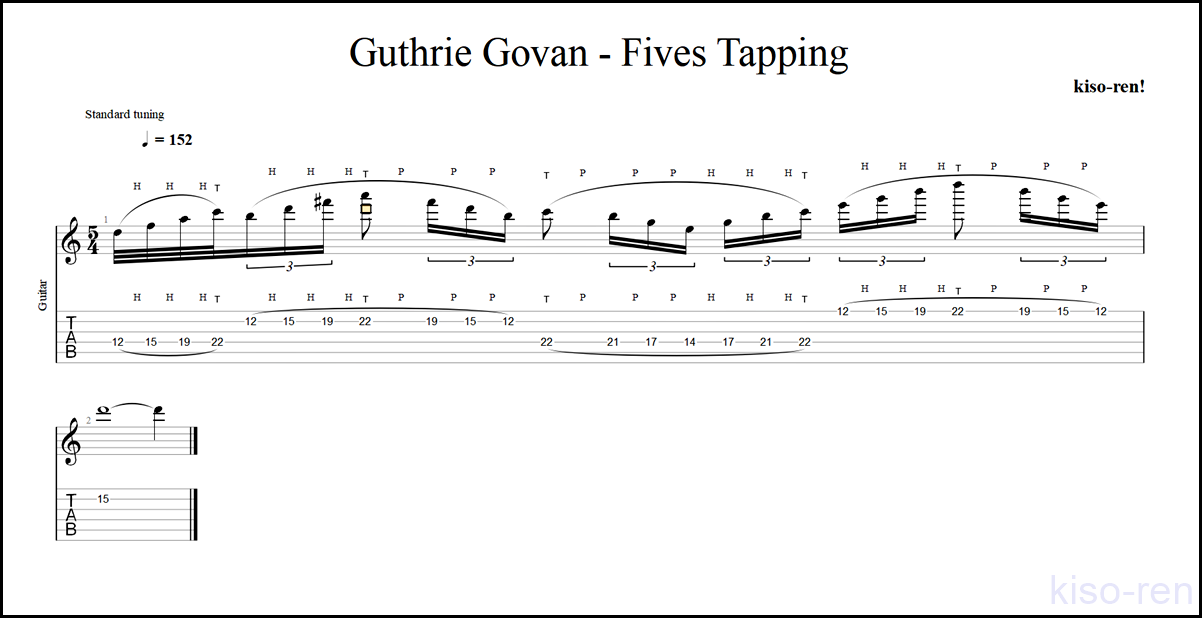 【Part TAB】Guthrie Govan - Fives Tapping ガスリー・ゴーヴァン / ファイブス ソロ前タッピングの集中練習【Tapping タッピング】