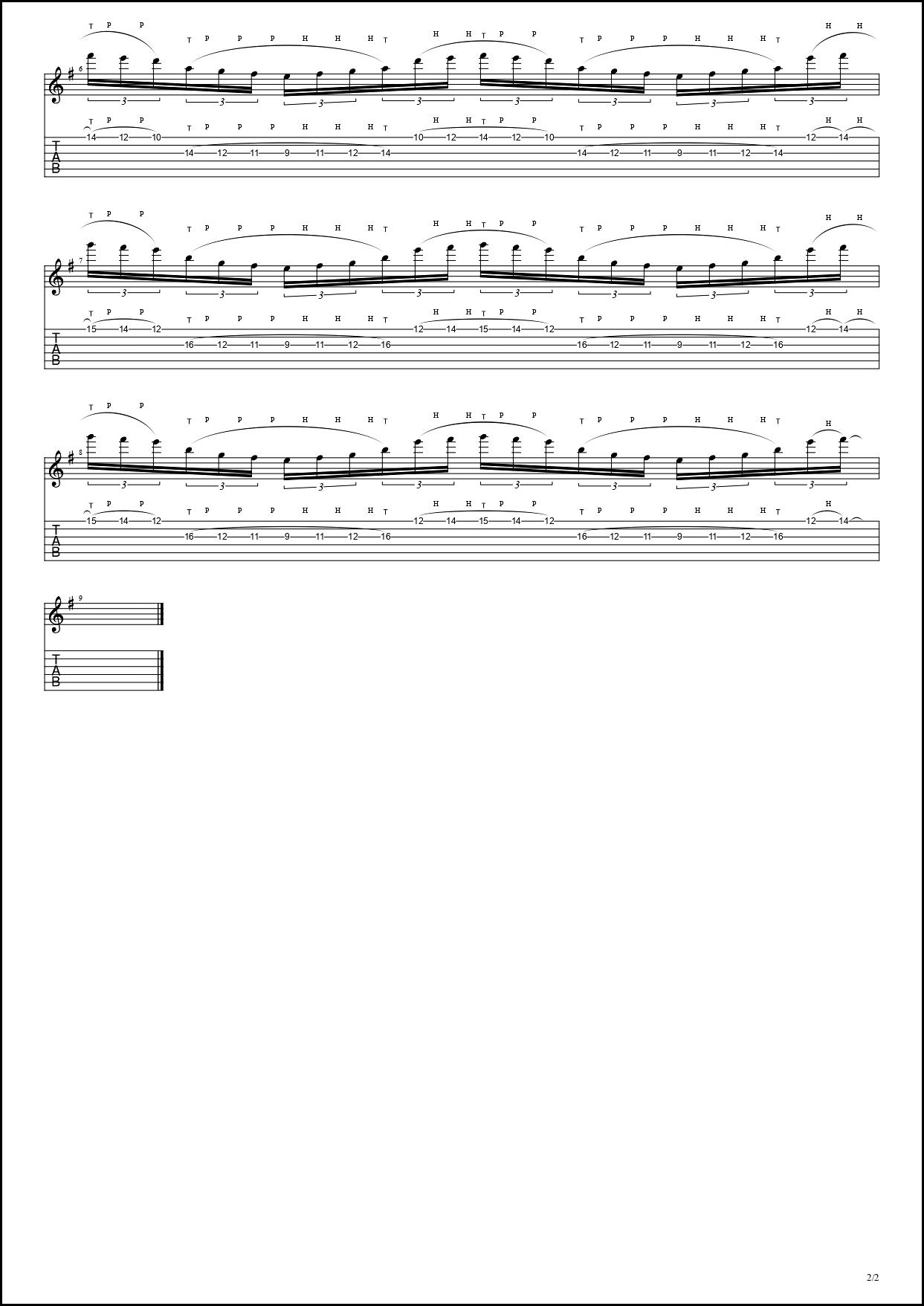 【TAB】Sea Of Lies / Symphony X Tapping Guitar Michael Romeo シンフォニーX タッピングギター BPM30-152【Tapping・タッピング】