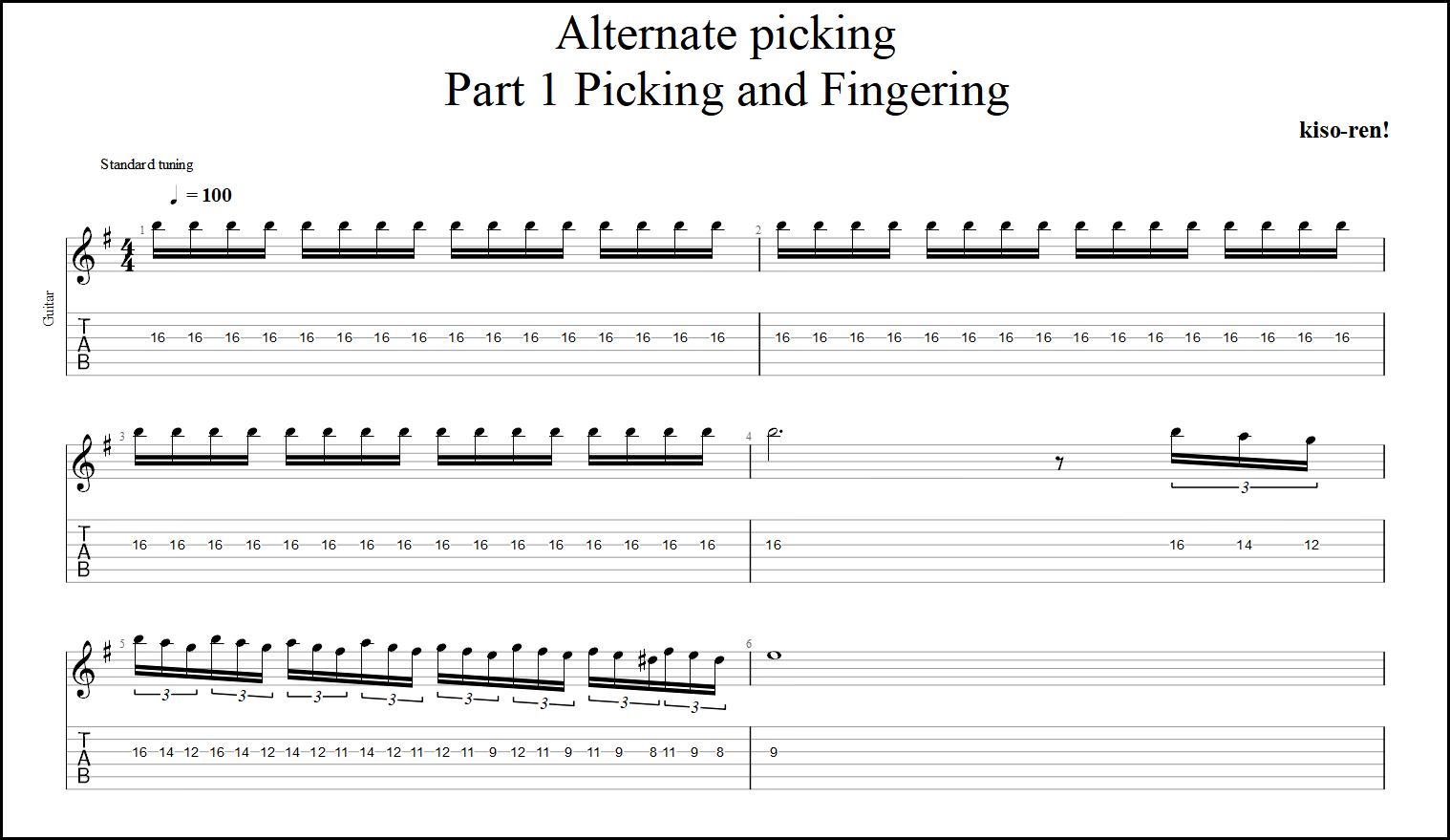 【TAB】Alternate picking Guitar Lesson ギターオルタネイトピッキング練習【Picking・Fingering ピッキング・フィンガリング】