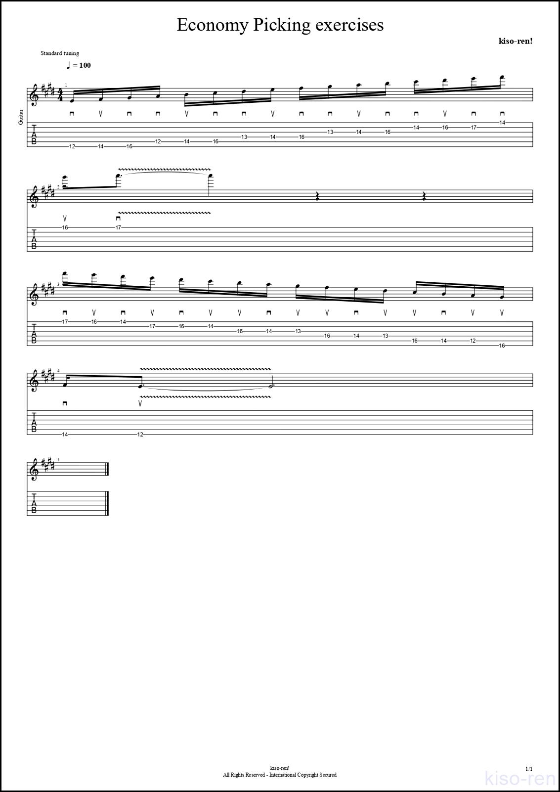 【TAB】Economy picking Basic Guitar Lesson エコノミーピッキング ギター基礎練習 【Picking ピッキング】